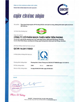 GCN hợp quy ống PP-R QCVN16:2017/BXD
